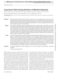 Lung Cancer Risk Among Smokers of Menthol Cigarettes