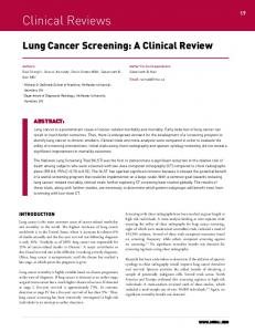 Lung Cancer Screening: A Clinical Review