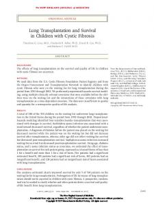 Lung Transplantation and Survival in Children with Cystic Fibrosis