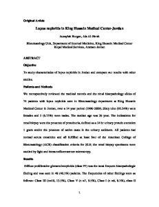 Lupus nephritis in King Hussein Medical Center-Jordan