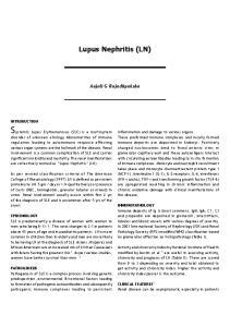 Lupus Nephritis (LN) Anjali G Rajadhyaksha INTRODUCTION