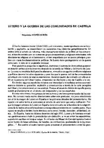 LUTERO Y LA GUERRA DE LAS COMUNIDADES DE CASTILLA