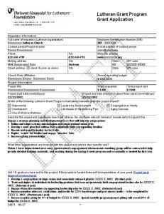 Lutheran Grant Program Grant Application