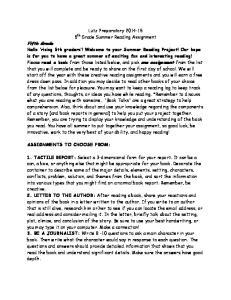 Lutz Preparatory th Grade Summer Reading Assignment