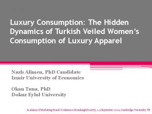 Luxury Consumption: The Hidden Dynamics of Turkish Veiled Women s Consumption of Luxury Apparel