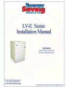 LV-E Series Installation Manual