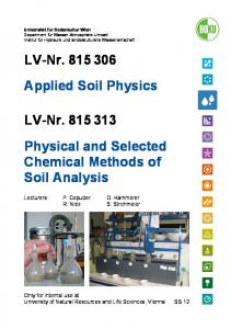 LV-Nr Physical and Selected Chemical Methods of Soil Analysis