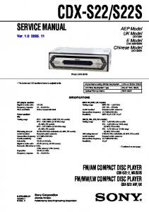 LW COMPACT DISC PLAYER. AEP Model UK Model CDX-S22 E Model