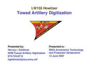 LW155 Howitzer Towed Artillery Digitization