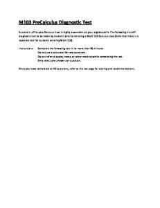 M103 PreCalculus Diagnostic Test