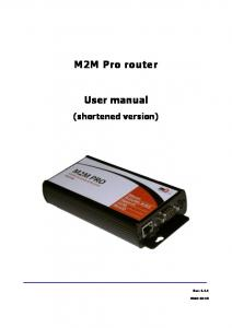 M2M Pro router. User manual