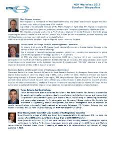 M2M Workshop 2013 Speakers Biographies