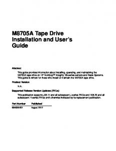 M8705A Tape Drive Installation and User s Guide