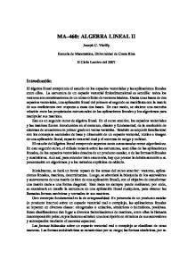 MA 460: ALGEBRA LINEAL II