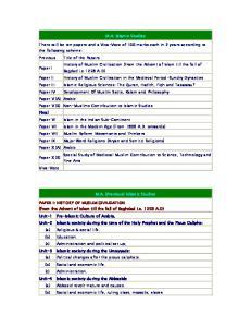 M.A. Islamic Studies