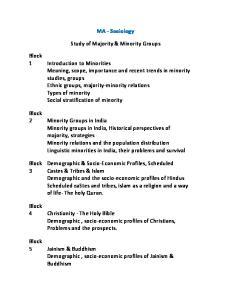 MA - Sociology. Study of Majority & Minority Groups