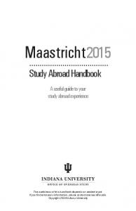 Maastricht2015. Study Abroad Handbook. A useful guide to your study abroad experience