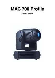 MAC 700 Profile. user manual