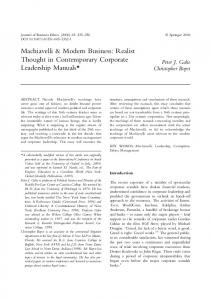 Machiavelli & Modern Business: Realist Thought in Contemporary Corporate Leadership Manuals*