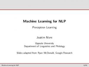 Machine Learning for NLP