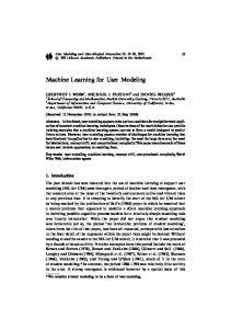 Machine Learning for User Modeling