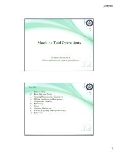 Machine Tool Operations