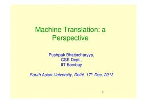 Machine Translation: a Perspective