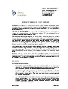 MACHINERY INSURANCE POLICY WORDING