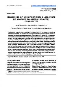 MACHINING OF UNIDIRECTIONAL GLASS FIBRE REINFORCED POLYMERS (UD-GFRP) COMPOSITES