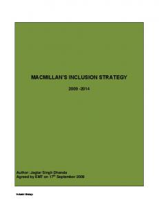 MACMILLAN S INCLUSION STRATEGY