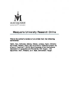 Macquarie University Research Online