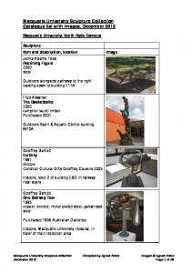 Macquarie University Sculpture Collection Catalogue list with images, December 2012