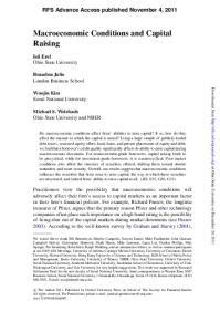 Macroeconomic Conditions and Capital Raising