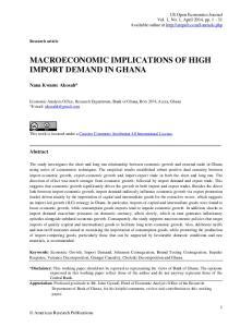 MACROECONOMIC IMPLICATIONS OF HIGH IMPORT DEMAND IN GHANA