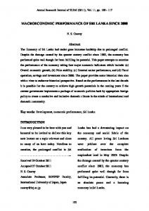 MACROECONOMIC PERFORMANCE OF SRI LANKA SINCE Abstract