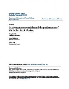 Macroeconomic variables and the performance of the Indian Stock Market;