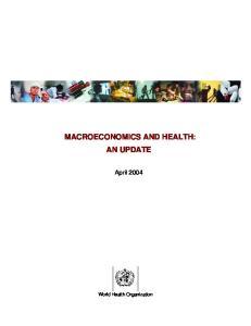 MACROECONOMICS AND HEALTH: AN UPDATE