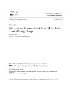 Macroencapsulation of Phase Change Materials for Thermal Energy Storage