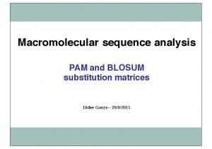 Macromolecular sequence analysis PAM and BLOSUM substitution matrices