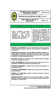 MACROPROCESO DE SEGUIMIENTO, EVALUACION Y CONTROL PROCESO GESTION CONTROL INTERNO PROCEDIMIENTO CONTROL DE EVALUACION