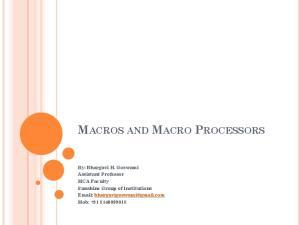 MACROS AND MACRO PROCESSORS