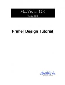 MacVector Primer Design Tutorial