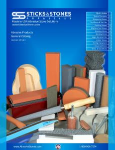 Made in USA Abrasive Stone Solutions  Abrasive Products General Catalog