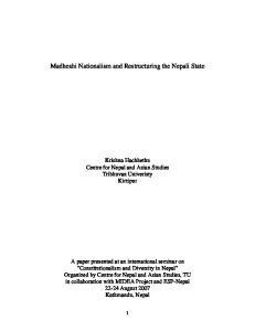 Madheshi Nationalism and Restructuring the Nepali State