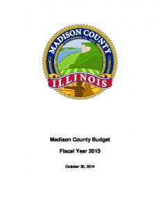 Madison County Budget. Fiscal Year 2015