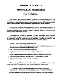 MADRES DE LA BIBLIA MANUAL PARA PROFESORES
