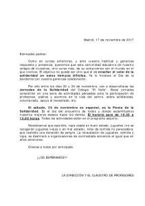 Madrid, 17 de noviembre de Estimados padres: