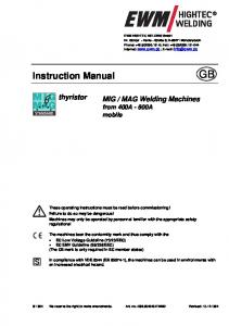 MAG Welding Machines from 400A - 600A mobile