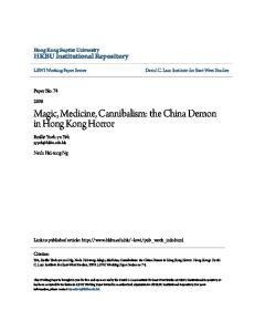Magic, Medicine, Cannibalism: the China Demon in Hong Kong Horror