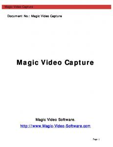 Magic Video Capture. Document No.: Magic Video Capture. Magic Video Capture. Magic Video Software